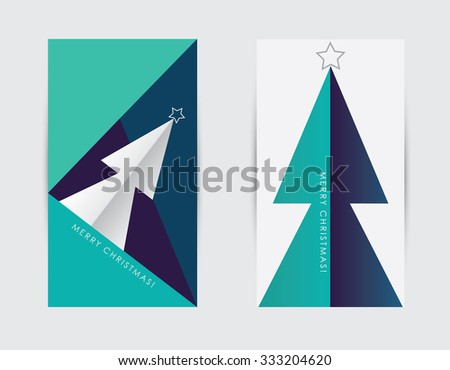 Modern minimal contemporary Merry Christmas greeting cards or banners in blue, turquoise and purple color - stock vector