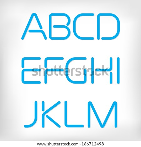 Modern minimal rounded font alphabet;  Sans-serif display elegant light font, vector alphabet letters design. Extra light, light, regular and bold versions included. Bold, heavy version - stock vector