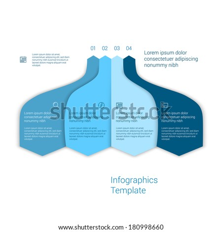 Modern minimal style infographic template layout. Infographics, numbered banner, cutout lines data scheme, graphic or website vector design with icons. Up down process flow chart.  - stock vector