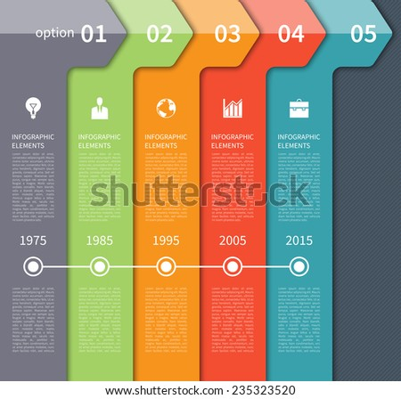 Modern minimal timeline arrow infographics elements. Origami style. Vector illustration. Can be used for workflow layout, diagram, number and step up options, timeline options, web design. - stock vector