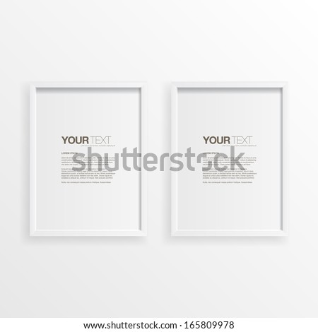 Modern minimal white frames on wall with your text  Eps 10 vector illustration  - stock vector