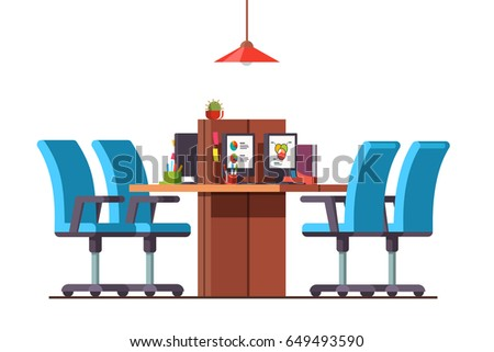 combined office interiors desk. Modern Minimalist Open Space Office Interior Design With Combined Desks, Desktop Pc, Chairs. Interiors Desk