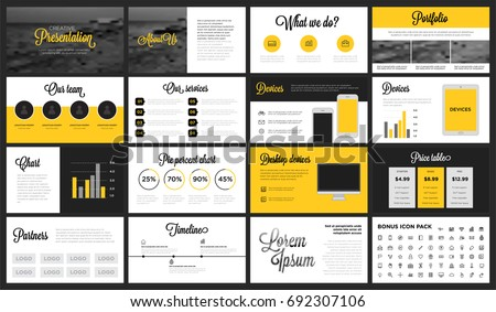 modern minimalist yellow black presentation template stock vector, Presentation templates