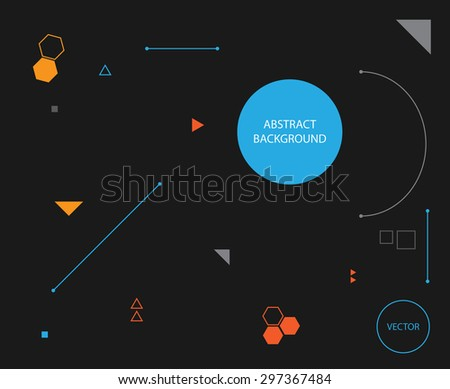 Modern minimalistic geometric abstract background made from basic shapes - dark version - stock vector