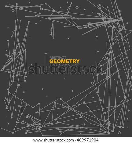 Modern minimalistic geometric abstract background made from lines and circles - dark version