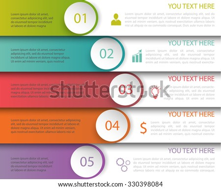 Modern Minimalistic Multicolor Infographics Template with icons - stock vector