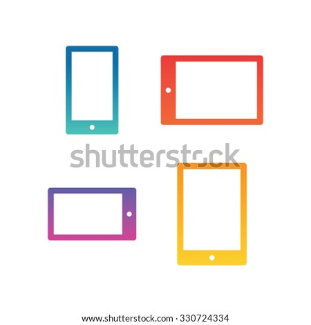Modern mobile icons with colorful gradients. - stock vector