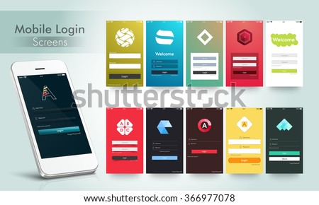 Modern Mobile Login and Welcome Screens User Interface kit in multiple colors for Responsive Website, Webpage, Designing and Mobile Apps. - stock vector