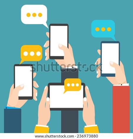Modern mobile messenger - stock vector