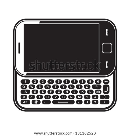 Modern mobile phone touchscreen slider with QWERTY keyboard. Black and white vector illustration
