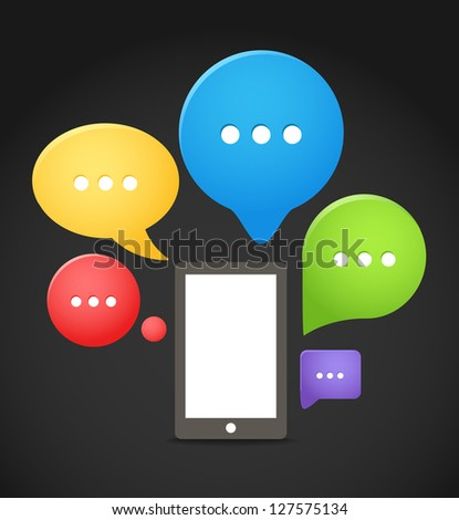 Modern mobile phone with group of color speech clouds - stock vector