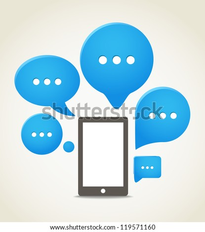 Modern mobile phone with group of speech clouds - stock vector