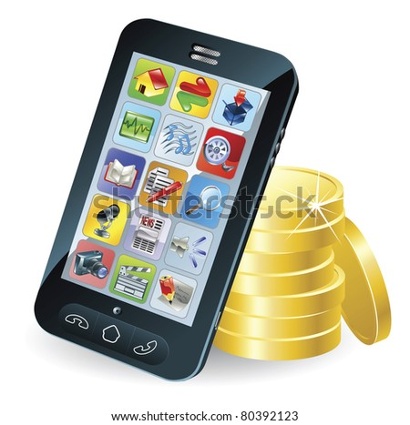Modern mobile smart phone and coins conceptual illustration. - stock vector