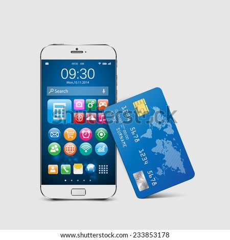 Modern mobile smartphone with credit card.vector - stock vector