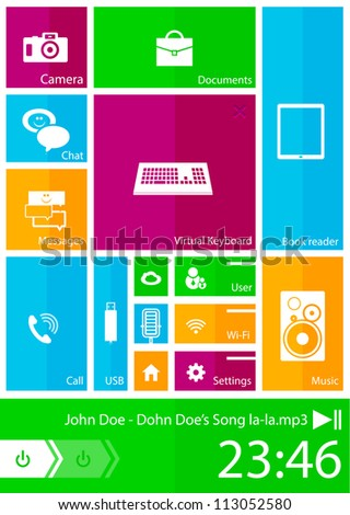 Modern mobile user interface. Color bright squares with icons - stock vector