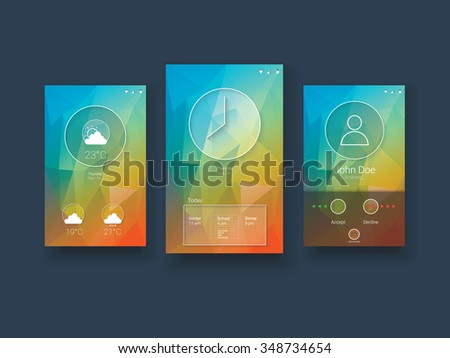 Modern mobile user interface template with smartphone screens on green low poly vector background. Eps10 vector illustration. - stock vector