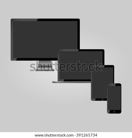 Modern monitor, laptop, tablet and mobile phone, vector illustration