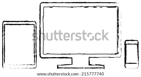 Modern Monitor With Smart Phone And Tablet In iPad Air And iPhone Style Doodle Drawing On White - stock vector