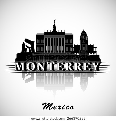 Modern Monterrey City Skyline Design. Mexico