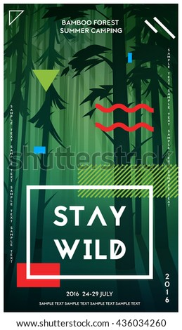 Modern motivational poster template with bamboo forest. Trendy typographic and design elements. Vector illustration - stock vector