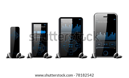 Modern mp3 and mp4 player set isolated on white background eps8 - stock vector