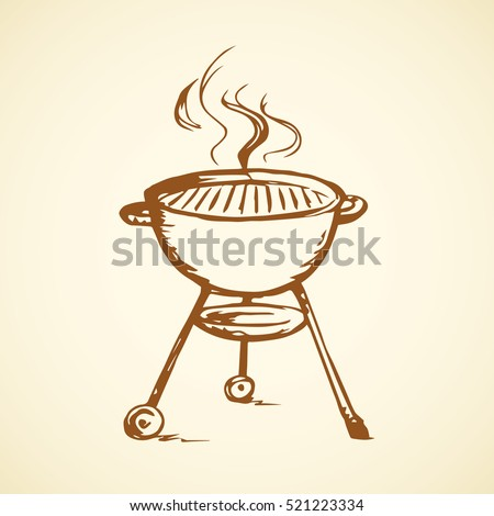Modern new blank circle grate Bbq heater device for steak snack isolated on white backdrop. Outline black hand drawn picture sign sketch in art scribble retro style pen on paper with space for text