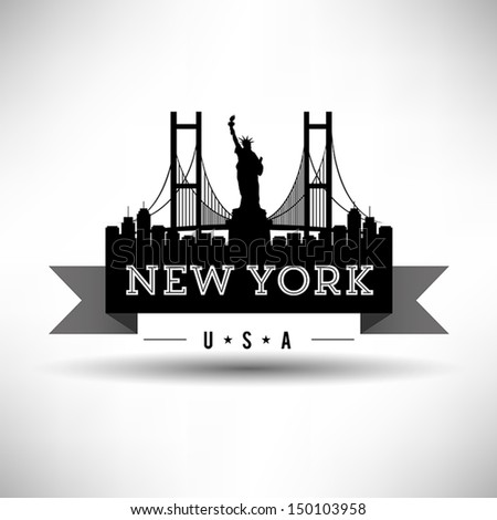 Modern New York Skyline Ribbon - stock vector