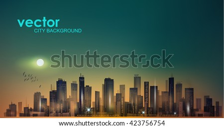 Modern night city scene in moonlight or sunset  - stock vector