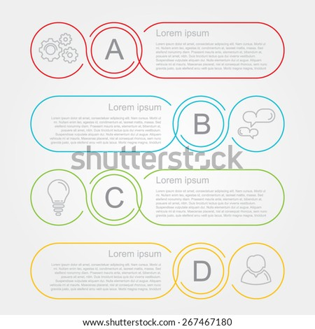 modern number list infographic banner circles - stock vector