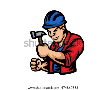 Modern Occupation People Cartoon Logo - Construction Worker