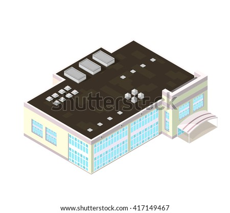Modern office and big business icon. Isometric vector illustration Office or business building. Large isometric office and place of work.