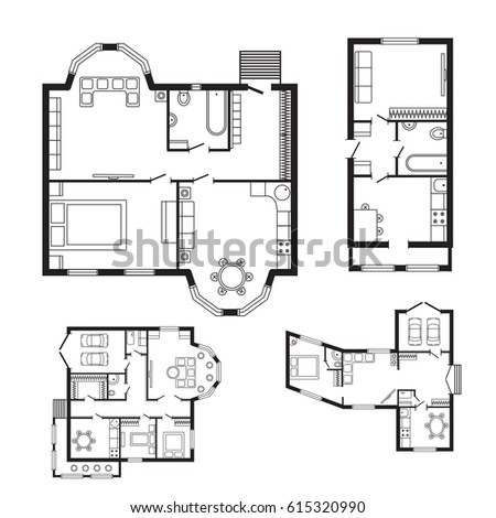 Modern Office Architectural Plan Interior Furniture Drawing Project