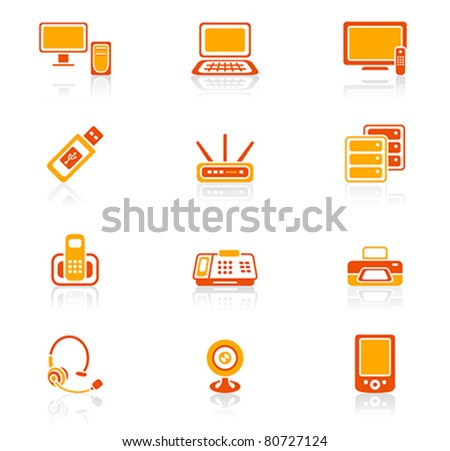 Modern office electronics icon-set in red-orange colors - stock vector