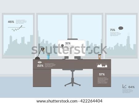 Modern office interior infographics. Vector illustration - stock vector