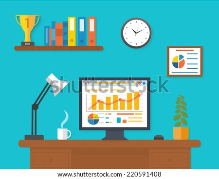 Modern office interior with seo desktop in flat design. Modern business workspace in office - stock vector