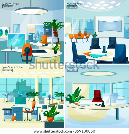 Modern office interiors 2x2 design concept set with meeting room open space office and private workspace flat vector illustration     - stock vector