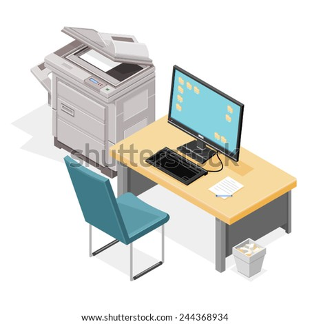 Modern office space with table, chair, computer and photocopier. Modern office space - stock vector