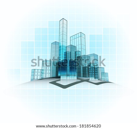 modern office vector city district with grid background vector concept illustration - stock vector