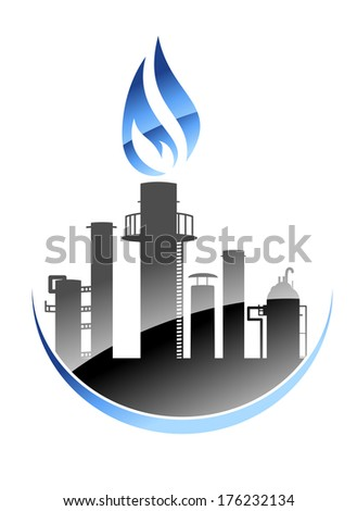 Modern oil refinery or industrial plant logo icon with tall smokestacks or chimneys with the central one emitting a burning flame - stock vector