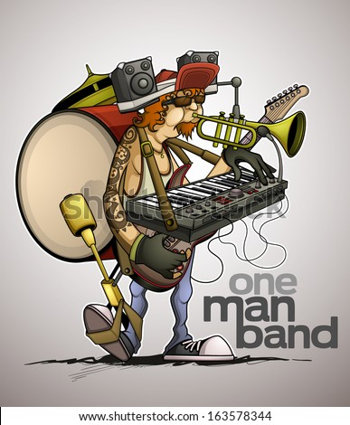 Modern one man band - stock vector