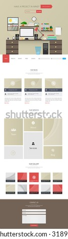 Modern One page Flat Website Template Design Vector