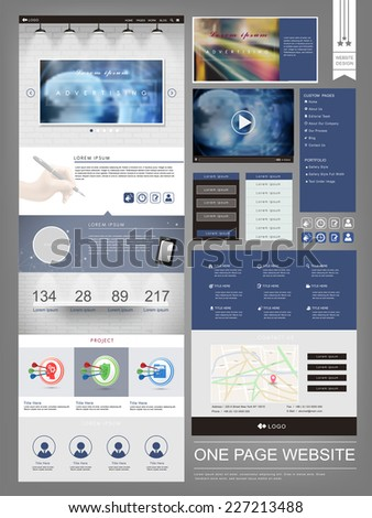 modern one page website design template in blue