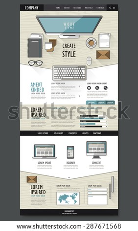 modern one page website design template with workplace essentials - stock vector