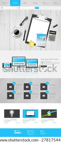Modern One Page Website Template Can be use Responsive Website on Touchscreen Devices. With open door to Dreamland Vector illustration.