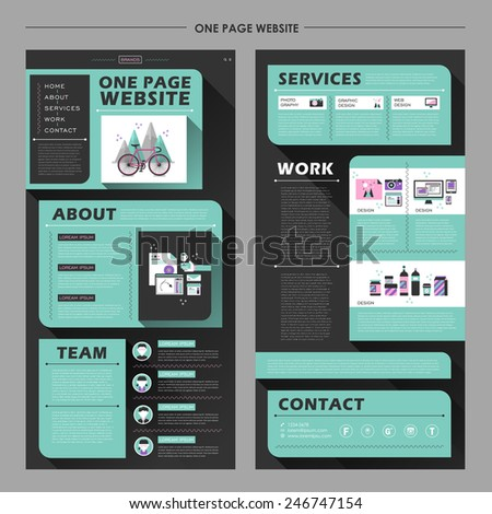modern one page website template design in flat style