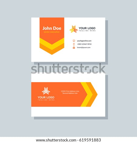 Modern orange business card template flat stock vector 619591883 modern orange business card template in flat design abstract background personal plain design with accmission Choice Image