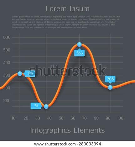 Modern orange 3d business diagram graph infographic elements. Vector illustration - stock vector