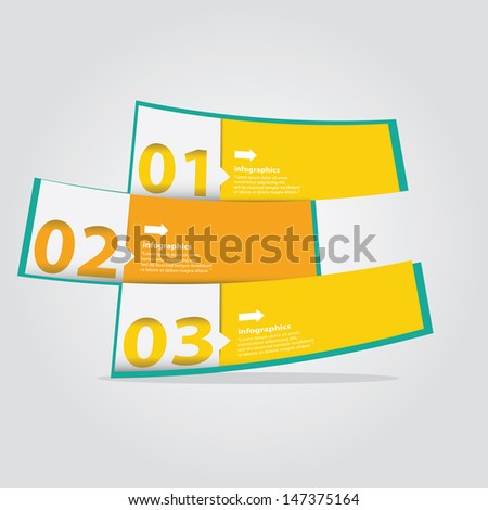Modern orange progress paper Design template / can be used for infographics / numbered banners / graphic or website layout vector