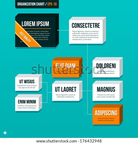 Modern organizational chart on turquoise background. - stock vector
