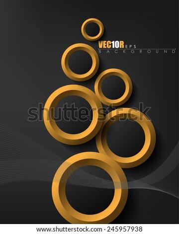 modern overlapping different sizes golden rings, black background, flowing strings elegant design, eps10 vector - stock vector